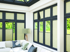 How stylish are these perfect fit blinds, perfect for the conservatory! Curtains Over Blinds, Windows With Blinds, Fitted Blinds, Fabric Blinds, Lined Curtains, Windows And Doors, Thermal Blinds, Thermal Curtains, Perfect Fit Blinds