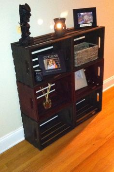 Homemade bookcase out of crates! Finally using my pinterest ideas in real life<3