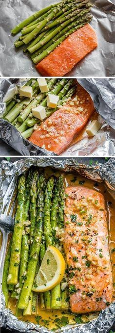 Salmon and Asparagus Foil Packs with Garlic Lemon Butter Sauce - - Whip up something quick and delicious tonight! - by dinner recipes baked Salmon and Asparagus Foil Packs with Garlic Lemon Butter Sauce Delicious Salmon Recipes, Fish Recipes, Seafood Recipes, Dinner Recipes, Cooking Recipes, Healthy Recipes, Recipies, Cooking Chef, Chicken Recipes