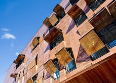 Part of a new urban script, the conservatory in Paris's arrondissement, designed by Basalt Architecture, features a copper cladding perforated by the beat of the melody. Contemporary Architecture, Architecture Design, Solar Filter, Cladding Systems, Metal Facade, Grand Paris, Social Housing, Music School, Copper Wall