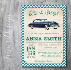 Vintage Car Baby Shower Invitation | chevron Boy Baby Shower or birthday | turquoise and blue green | Vintage Retro Antique Invite | 108