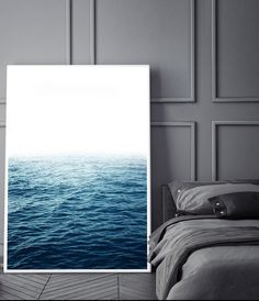 Ocean photography print, water wall art, minimalist wall art, Scandinavian interior, calming bedroom art