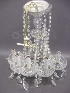 shopgoodwill.com: Crystal Glass 5-Spot Electric Chandelier