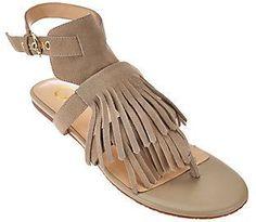 C. Wonder As Is Suede Sandals with Fringe - Jessa