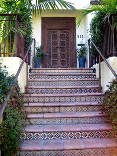 Mexican tile stair risers n mission style door Tile Steps, Stair Steps, Stair Risers, Porch Steps, Tiled Staircase, Staircase Ideas, Staircases, Spanish Landscaping, Front Stairs
