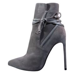 Pre-owned Saint Laurent Suede Leather Lace (40.5eu/10us) Gray Boots ❤ liked on Polyvore featuring shoes, boots, ankle booties, lace-up booties, grey suede booties, suede boots, ankle boots and grey booties
