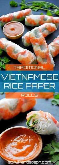 Traditional Vietnamese Rice Paper Rolls with 3 delicious sauces to choose from. Vietnamese Rice Paper Rolls, Vietnamese Spring Rolls, Veggie Spring Rolls, Fried Spring Rolls, Summer Rolls, Rice Paper Wraps, Rice Wraps, Vietnamese Recipes, Asian Recipes