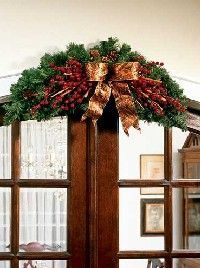 make your own Christmas arch out of a wreath.. fold wreath in half, add bow, cinnamon sticks, berries and picks.. shape, snip and hang!!!