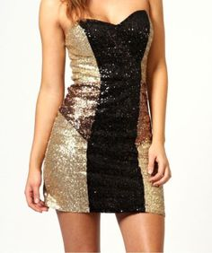 NEW WOMENS AW12 SEXY CONTRAST CHRISTMAS PARTY EVENING SEQUIN EMBELLISHED DRESS