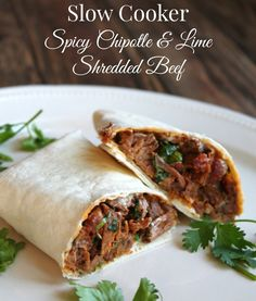 Slow Cooker Spicy Chipotle and Lime Shredded Beef. Healthy Beef Crockpot Recipe