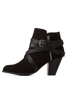 Black Belt-Wrapped Chunky Heel Booties by Charlotte Russe Black Booties, Ankle Booties, Bootie Boots, Fab Shoes, Crazy Shoes, Thick Heels, Chunky Heels, Short Black Boots, Black Belt