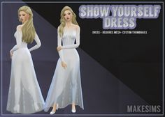 The Sims 4 Show Yourself Dress Sims 4 Mods Clothes, Sims 4 Clothing, Sims Mods, Frozen 2 Elsa Dress, Sims 4 Anime, The Sims 4 Packs, White Dress Winter, Sims4 Clothes, Sims 4 Dresses