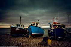 Three Boats and Moody Sky at Beer, Devon, England Devon Beach, Driftwood Beach, Devon England, British Isles, Homeland, Places Ive Been, Boats, Nautical, Thats Not My