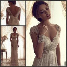 Wholesale 2014 - Buy 2014 Vintage Sheer Wedding Dresses Backless Lace Beach Wedding Dresses Empire Covered Buttons A Line Wedding Dresses With Short Sleeves Long, $132.17 | DHgate