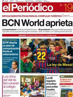 Los Titulares y Portadas de Noticias Destacadas Españolas del 19 de Septiembre de 2013 del Diario El Periódico ¿Que le pareció esta Portada de este Diario Español?