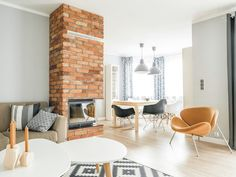 Aranżacja mieszkania by Sałata | Bajkowe Wnętrza Brick Interior, Interior Design, Exposed Brick, Wooden Flooring, Home Living Room, Floor Chair, Dining Table, Home And Garden, House Design