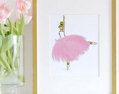 Ballerina Art Print, pink ballerina, Ballerina nursery art, Pink Girls art, ballerina party, Ballerina birthday, ballerina theme party