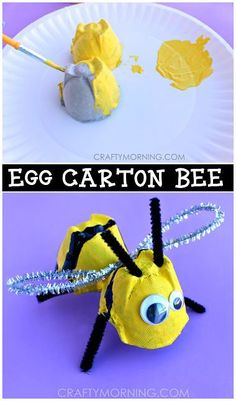 Egg Carton Bumble Bee Craft for Kids to make in Spring or Summer time! | http://CraftyMorning.com