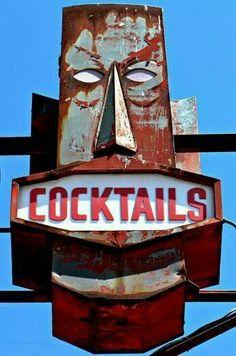 Tiki Sign- to my mom's little slice of heaven, Tiny Tina's Tiki Bar and Spa Old Neon Signs, Vintage Neon Signs, Vintage Tiki, Old Signs, Vintage Hawaii, Vintage Bar, Tiki Art, Tiki Tiki, Kitsch