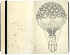 hot air balloon. moleskin notebook art.