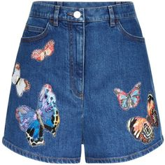 Valentino Butterflies Denim Shorts | Harrods (4.105 RUB) ❤ liked on Polyvore featuring shorts, short jean shorts, denim shorts, jean shorts and denim short shorts