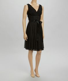 Another great find on #zulily! Black Pleated Surplice Dress by SL Fashions #zulilyfinds