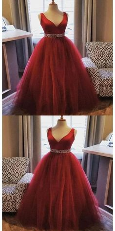 A-Line V-Neck Two Straps Red Tulle Long Prom Dresses Online Monday Dressing Sequin Prom Dresses, Prom Dresses Online, Bridesmaid Dresses, Wedding Dresses, Elegant Dresses, Beautiful Dresses, Vintage Dresses, Formal Dresses, Wine Colored Dresses