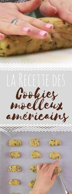 Cookies moelleux américains Discover the recipe of American cookies on video Brownie Cookies, Cake Cookies, American Cookies Recipe, Keks Dessert, Cookie Recipes, Dessert Recipes, Brookies, No Sugar Foods, Dough Recipe
