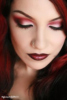 Red Eyeshadow Looks | ... red on the eyes! So, I created a look using a pinkish red and burgundy