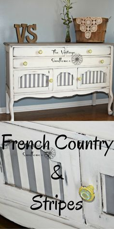 Painted Buffet | Painted Stripes | Stripes | Chalk Paint | Painted Furniture