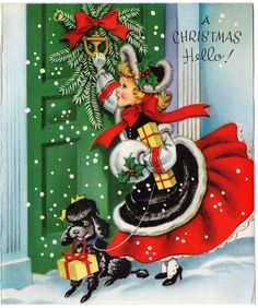 Pretty Lady Girl Woman Dress Poodle Dog Door Muff VTG Christmas Greeting Card