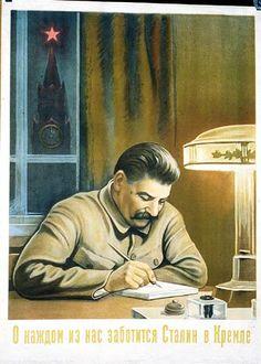 """Stalin in the Kremlin cares about each one of us"" by artist Viktor Ivanovich Govorkov Soviet Union 1940 Soviet Art, Soviet Union, Canvas Poster, Poster Wall, Joseph Stalin, Propaganda Art, Socialist Realism, Political Posters, Russian Revolution"