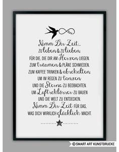 """Originaldruck - """"ZEIT NEHMEN"""" Kunstdruck - ein Designerstück von Smart-Art-Kunstdrucke bei DaWanda"""