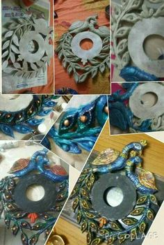 Discover thousands of images about Sonal Shah Diy Clay, Clay Crafts, Wood Crafts, Arts And Crafts, Paper Crafts, Diwali Craft, Diwali Diy, Clay Wall Art, Clay Art