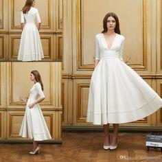 2017 Short Beach Wedding Dresses Delphine Manivet A Line Sexy Deep V Neck 1/2 Sleeves Natural Waist Zipper Tea Length Bride Dress