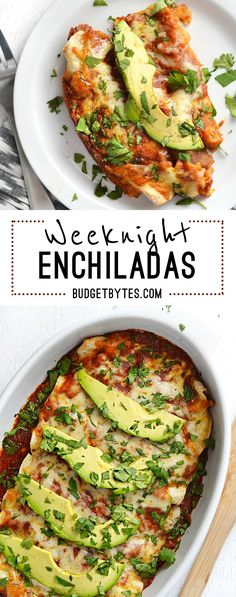 These basic Weeknight Enchiladas are anything but boring. A few important details take their flavor from simple to spectacular. Step by step photos. @budgetbytes