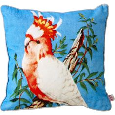 Cuscino vintage quadrato con stampa con uccello cacatua. In cotone sfoderabile.