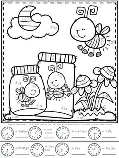 Telling Time Color-By-Number Spring Themed Colouring Pages, Free Coloring, Coloring Sheets, Coloring Books, Art Drawings For Kids, Telling Time, Cool Fonts, Craft Activities, Flower Crafts