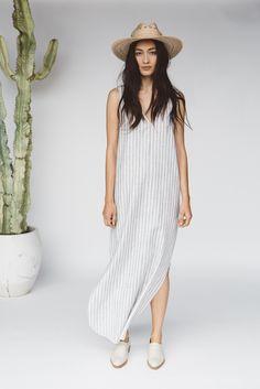 Jenni Kayne Resort2016 | white + gray stripe tank dress + white oxfords