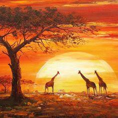 2019 Giraffe Under Sunset Diy Diamond Painting Kits UK Cross Stitch Mosaic African Paintings, African Prints, African Sunset, Foto Poster, Africa Art, Modern Art Paintings, Canvas Paintings, African American Art, African Women