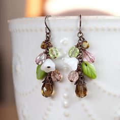 White Flower Green Leaf Multi Color Glass Cluster by YuniDesigns