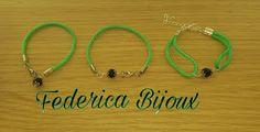 Federica Bijoux : Bracciali con cordoncino verde con su coccu fine r...