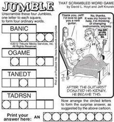 jumble word puzzle  Word Jumble Puzzles Printable