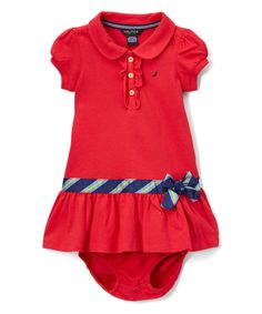 Dark Red Piqué Polo Dress - Girls