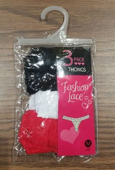 3Pack Fashion Lace Thong in Pouch