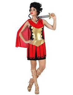 Disfraz de romana mujer: Este disfraz de gladiadora romana para mujer incluye un vestido y una capa (peluca, espada y sandalias no incluidas).El vestido es bastante ligero de color marrón y dorado. Un cinturón...