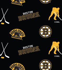 NHL Fleece Fabric- Boston Bruins Tossed , , hi-res