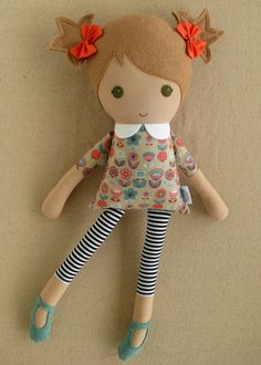 Reserved for Maria Fabric Doll Rag Doll Girl in by rovingovine