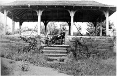 Gazebo on Searls property by the tennis court. Built by either Edmund or Frank Huyck in early 1900s. This is probably Edmund Niles Huyck in the chair. photo from Rensselaerville Historical Society