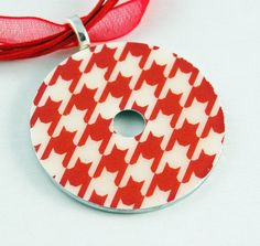 Upcycled Washer Pendant - Red Houndstooth
